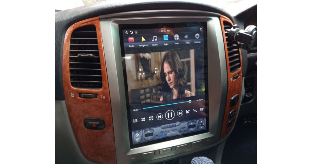 Tesla Style car radio type is specific to vehicles and has AC controls.