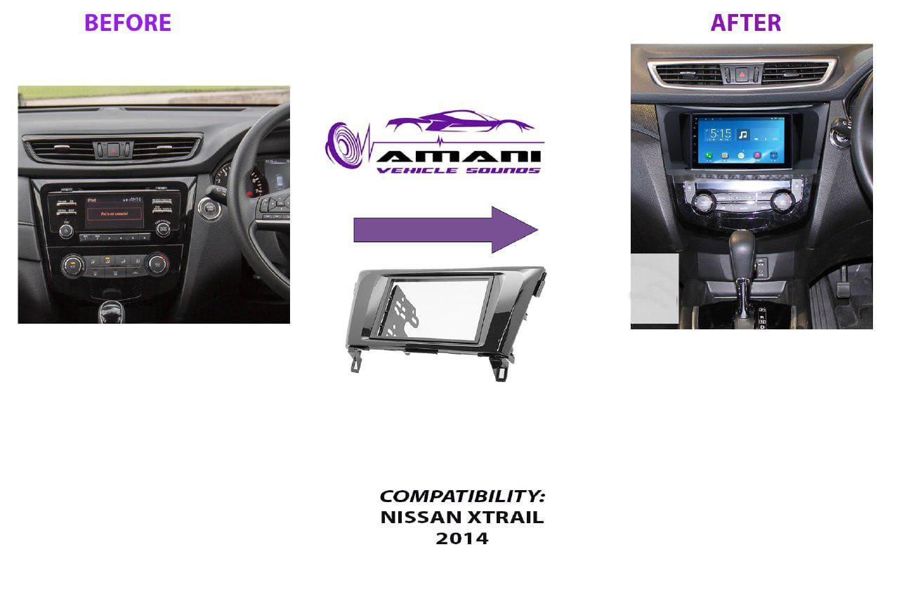 Double din stereo fascia console panel for 2014+ Nissan X Trail.