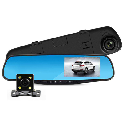 Dual camera rear view mirror Dash Cam full HD recorder.