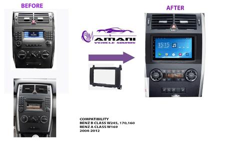 2 din car radio fascia for 2004-2012 Mercedes Benz b200 a class w169 b-class w245.