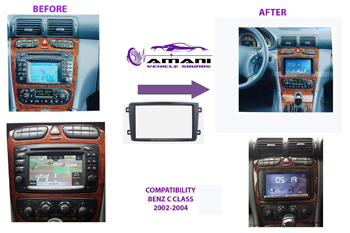 2 din car radio fascia for 2002-2004 Mercedes Benz c-class w203.