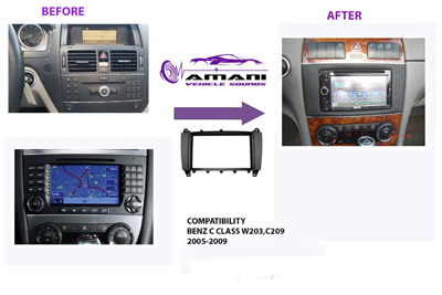 2din car radio fascia for 2005-2009 Mercedes Benz c class (w203) GLK class (c209).