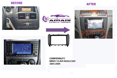 2din car radio fascia for 2005-2009 Mercedes Benz c class (w203) GLK class (c209).