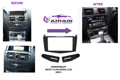 2 din car radio fascia for 2007-2011 Mercedes Benz c class (w204).