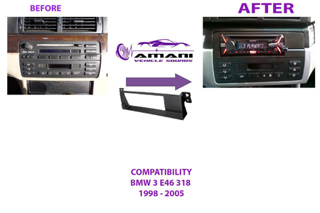 Single din car radio fascia for 1998 to 2005 BMW 3 series (e46).