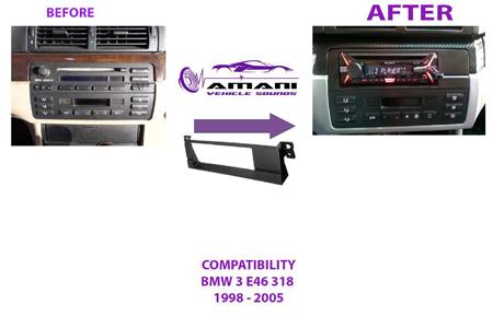 Single din car radio fascia for 1998 to 2005 BMW 3 series (e46).