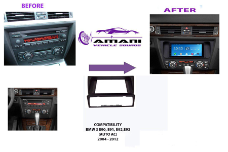 Double din car radio fascia for 2004 to 2012 BMW 3 series (e90 - e93).