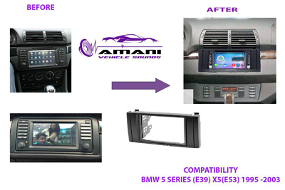 Double din car radio fascia for 1995 to 2006 BMW 5 series e39/x5-e53.