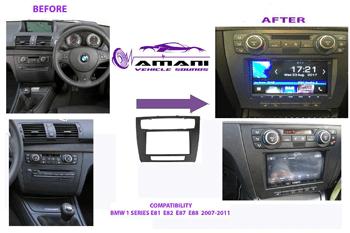 Double din car radio fascia for 2007 to 2011 BMW 1 series (e81, e82, e87, e88).