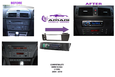 Single din car radio fascia for 2004 to 2010 BMW x3 (e83)