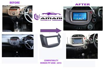 Double din car radio fascia for 2008-2013 Honda fit jazz.