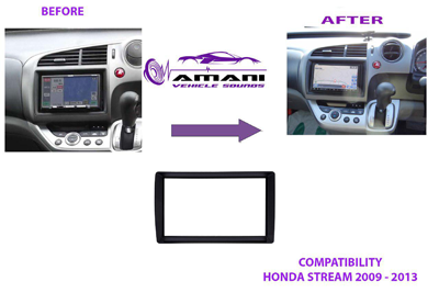 Double din car radio fascia for 2009-2013 Honda stream.