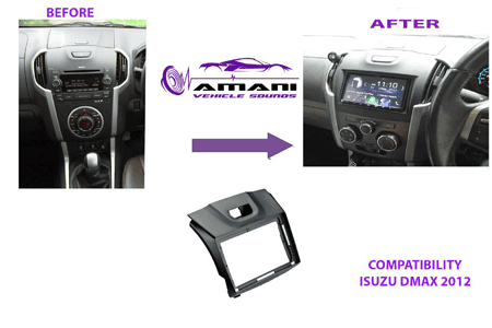 Double din stereo fascia panel for Isuzu DMax 2012 onwards.