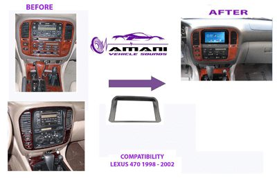 Double din stereo fascia panel for Lexus 470 land cruiser 1998 to 2003.