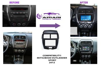 Double din car radio fascia console for 2012 Mitsubishi outlander sport.