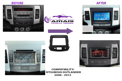 Double din car radio fascia console for 2008-2012 Mitsubishi outlander.