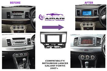 Double din car radio fascia console for 2007+ Mitsubishi lancer x Galant Fortis.