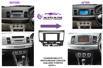 Double din car radio fascia console for 2007+ Mitsubishi lancer x Galant Fortis.