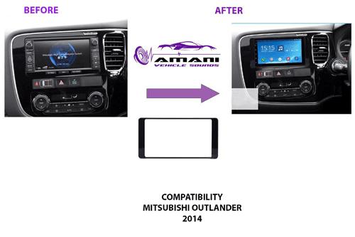 Double din car radio fascia console for 2014 Mitsubishi outlander.
