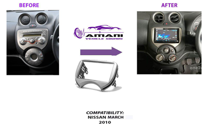 Double din stereo fascia panel for Nissan march 2010 to 2013 & Renault pulse 2011+