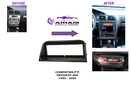 One din Peugeot 406 car radio fascia installation kit 1995 to 2005.