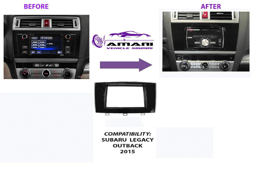 Double din car radio fascia console for 2015+ Subaru legacy outback.