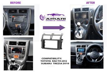 Double din Toyota verso-s Ractis & Subaru Trezia 2010+ car radio fascia installation kit.