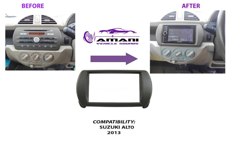 Double din car radio fascia console for 2013 Suzuki Alto.
