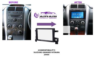 Double din car radio fascia console for 2005 Suzuki Grand Vitara.