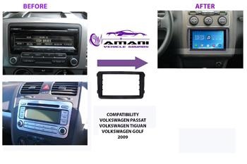 Double din car radio fascia console for 2009 VW Touran Passat Golf Tiguan.