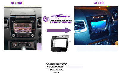Double din car radio fascia console for 2002 to 2011 VW Touareg.