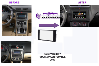 Double din car radio fascia for 2009+ VW Touareg.