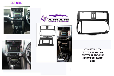 Universal two din Toyota Prado GX j150 car radio fascia console installation kit 2010.
