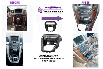 One din stereo fascia panel for Toyota harrier Lexus rx300 year 1997-2003.