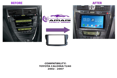 Double din stereo fascia panel for Toyota Caldina T240 year 2002 to 2007