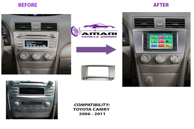 Double din stereo fascia panel for Toyota Camry Aurion year 2006 to 2011.