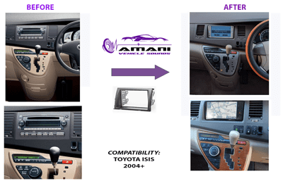 Double din stereo fascia panel for Toyota Isis 2004+