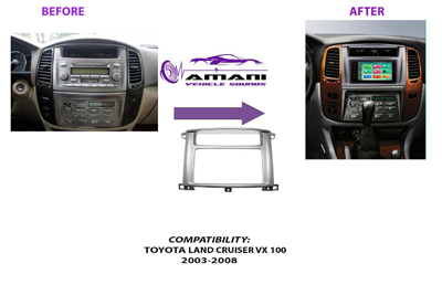 Double Din Radio Fascia for Toyota Landcruiser Vx100 Year 2003 to 2008 Lexus Lx470 Year 1993-2007