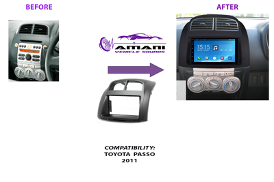 Double din stereo fascia panel for Toyota Passo 2011