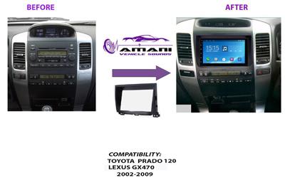 Double Din Stereo Fascia Panel for Toyota 2002 to 2009 Prado 120  Lexus Gx470