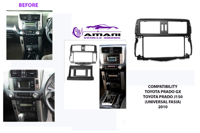 Double din Toyota Prado Gx 150 year 2009 to 2013 car radio fascia installation kit.