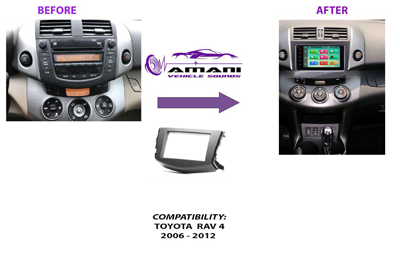 Double din Toyota Rav 4 year 2006-2012 car radio fascia installation kit.