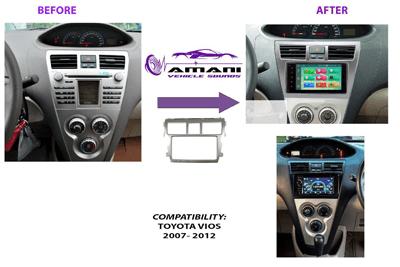 Double din car fascia radio panel for Toyota Vios, Belta, and Yaris sedan 2006+