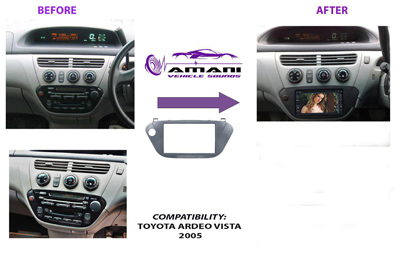 Double Din Stereo Fascia Panel for Toyota Vista Ardeo 2005
