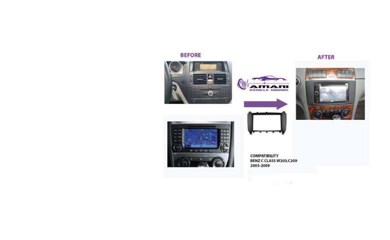 2Din car radio fascia for 2002-2004 mercedes benz BENZ C-CLASS W203