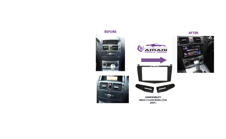 2din car radio fascia for 2007-2011 mercedes benz c class (w204)